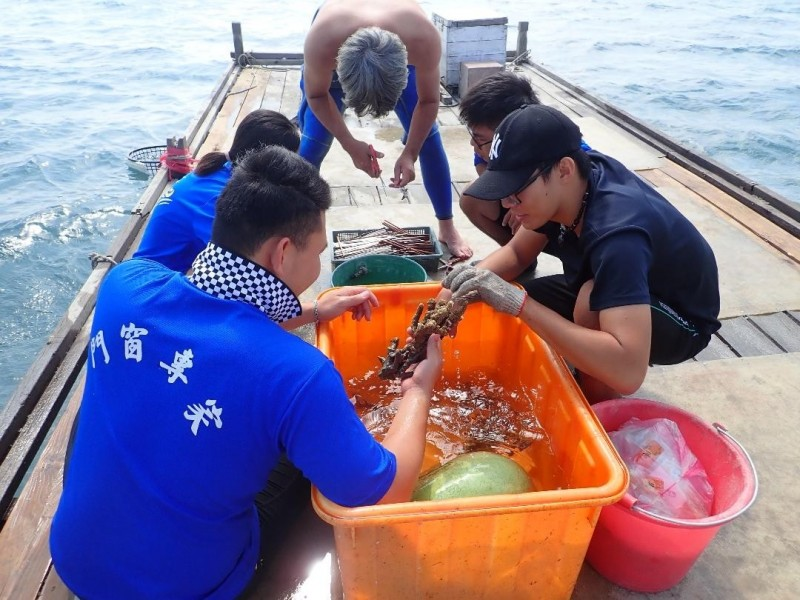 海洋公民基金會號召工作人員,搭船出海種植珊瑚田。(海洋公民基金會提供)