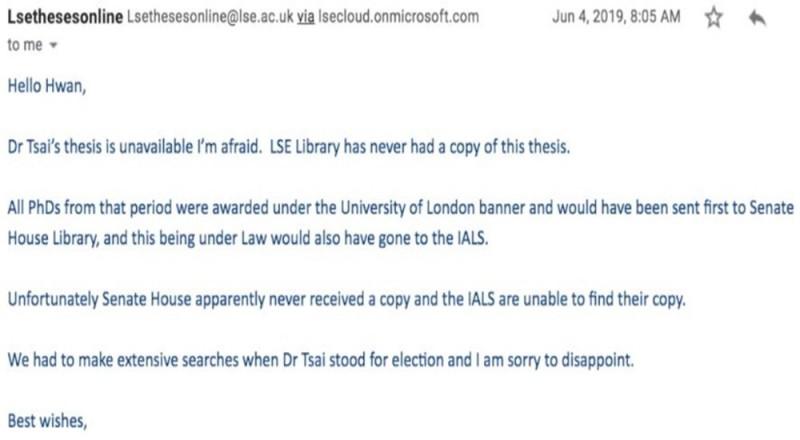 謝志偉指出,從倫敦大學圖書館助理寄給林環牆的回信中,清楚表達對方的意思是,圖書館看樣子從沒收到論文影本。(圖擷取自林環牆獨立報告)