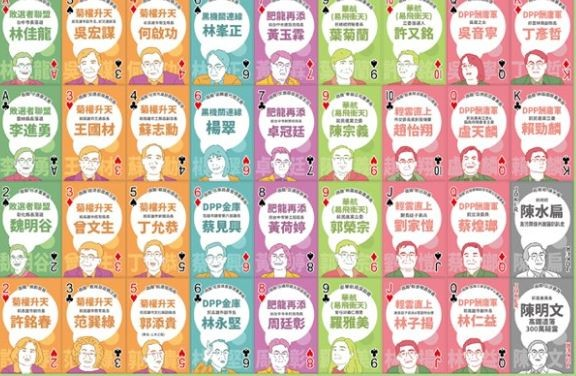國民黨最近製作了一副撲克牌文宣,批評民進黨「酬庸」。(擷取自國民黨臉書)
