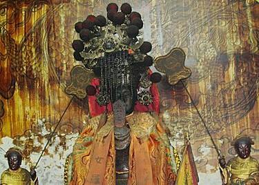 台灣民俗村的奠安宮的媽祖神尊。(奠安宮提供)