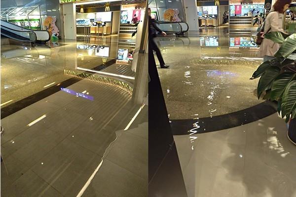 桃園機場二航廈B2美食街積水又傳積水情情形。(圖擷取自PTT)