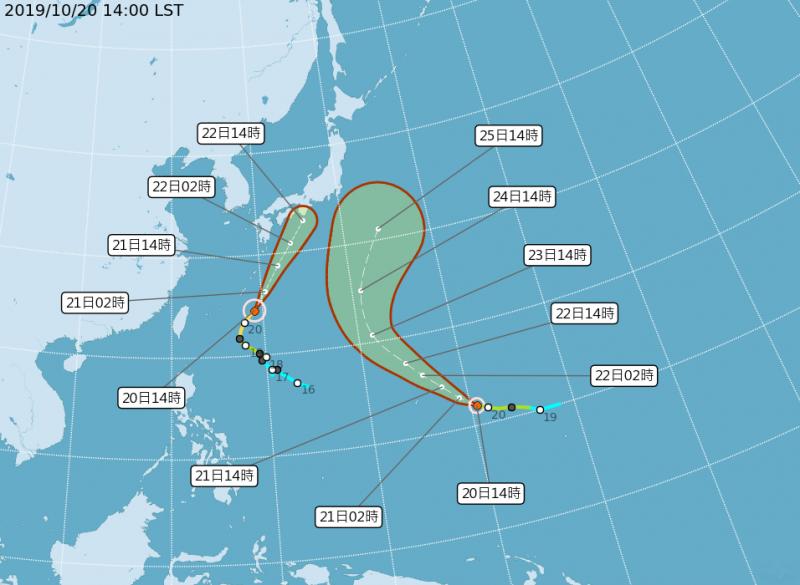 「浣熊」颱風路徑潛勢圖。(圖擷取自中央氣象局)