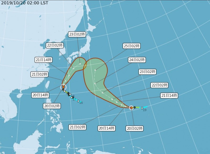 輕度颱風博羅依昨晚生成,路徑將往西北偏北朝日本南方海面前進,浣熊颱風今也持續偏北移動,之後將朝東北方向遠離台灣,估計週一時強度會迅速減弱。(圖擷自氣象局網站)
