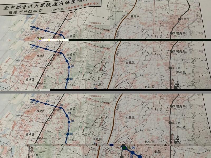 前台中市長胡志強任內的台中捷運藍線,已有太平到台中港的方向。(記者唐在馨翻攝)