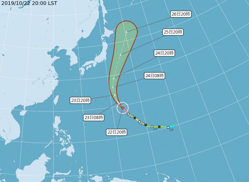 第21號颱風「博羅依」路徑潛勢圖。(圖擷取自中央氣象局)