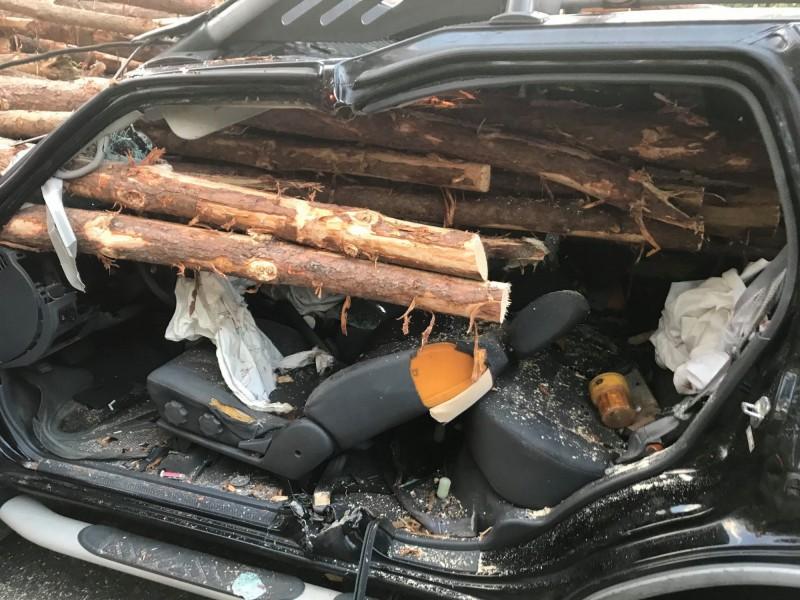 電影情節?大量原木貫穿休旅車 駕駛這動作逃過一命