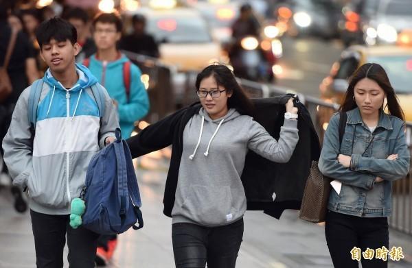 今天白天北台灣及宜花約26至28度,整天舒適到稍有涼意,中南部及台東約29至31度,請留意氣溫變化適時調整衣物。 (資料照)
