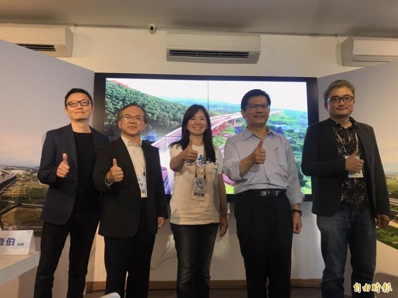 「海路漫行」影片今天發表,右起為台灣人工智慧實驗室創辦人杜奕瑾、交通部長林佳龍、齊柏林基金會執行長萬冠麗。(記者陳心瑜攝)