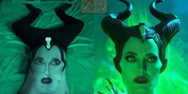 泰國網紅用身體角色扮演黑魔女,讓台灣網友感到相當有創意。(圖擷取自Lowcostcosplay)