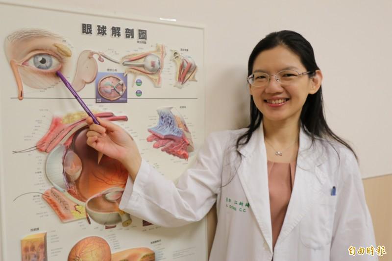 亞大醫院江鈞綺主任表示,女患者因結膜老化,在靠近下眼瞼的地方出現如果凍般的白色薄膜。(記者陳建志攝)