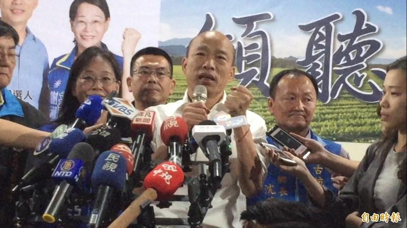 國民黨總統參選人韓國瑜說,做不到讓人民過好日子才叫魔鬼。(記者詹士弘攝)