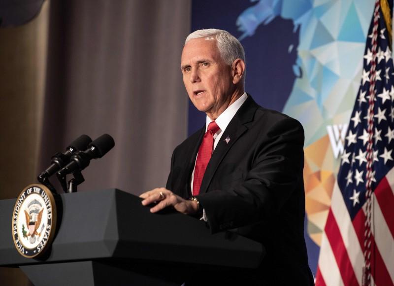 美國副總統彭斯在年度對華演講中,指控中國迫害人權,並強調美方與台灣站在一起。(法新社)