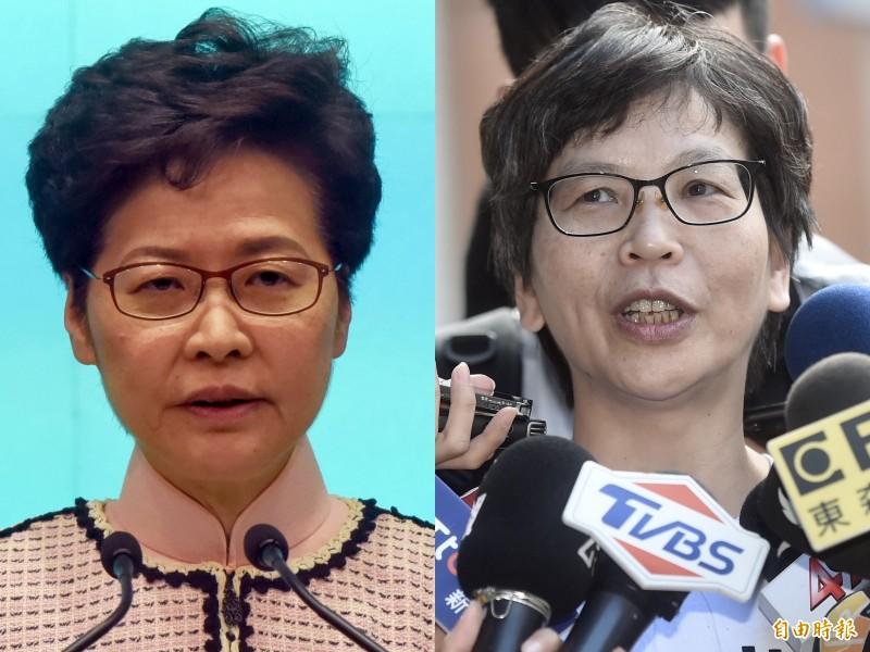 香港特首林鄭月娥(左)和台北市政府顧問蔡壁如(右)。(歐新社、資料照合成圖)