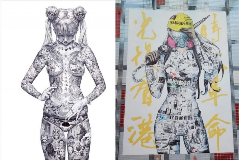 香港葵芳連儂牆的精美〈自由女神〉肖像,發想自日本插畫家大友昇平名作〈平成聖母〉(Heisei Mary)。(圖擷取自IG@shohei_otomo、臉書「金水」)