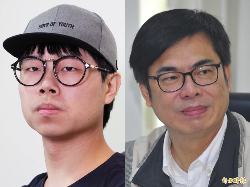 知名Youtuber藍亦明(左)和行政院副院長陳其邁(右)。(台視提供、資料照合成圖)