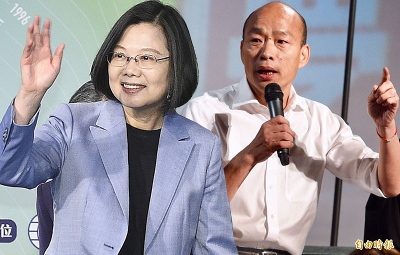 台灣民意基金會發布最新民調,若由總統蔡英文與國民黨總統參選人韓國瑜對決,51.3%支持蔡英文,遙遙領先韓國瑜的33.9%支持度。(本報合成)