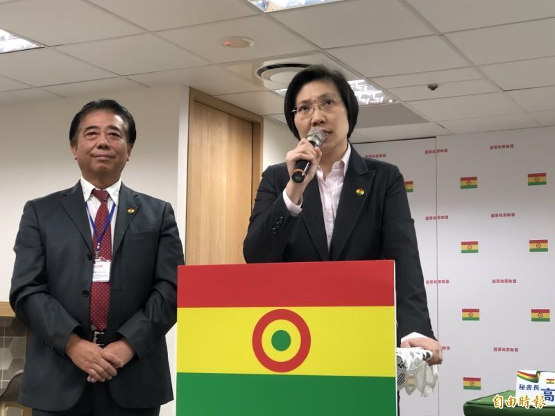 副主席徐欣瑩(右)將排入國會政黨聯盟不分區立委第一位,左為秘書長高國慶。(記者陳昀攝)