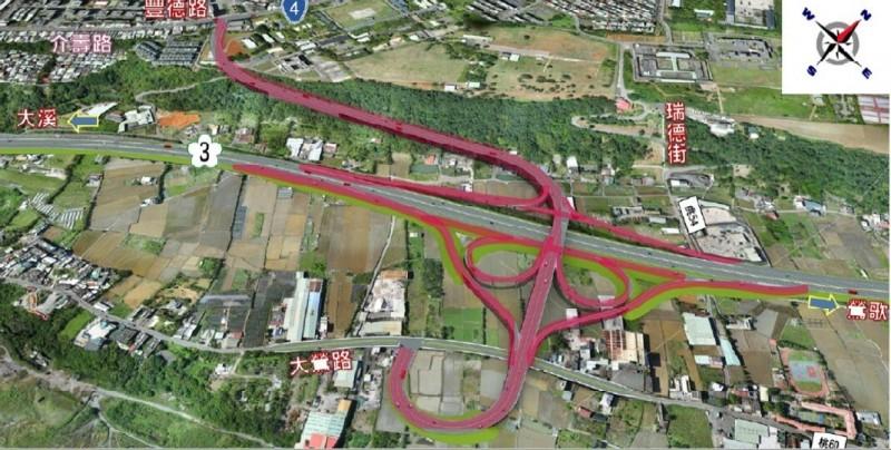交通部通過國道3號增設大鶯豐德交流道可行性研究。(交通局提供)