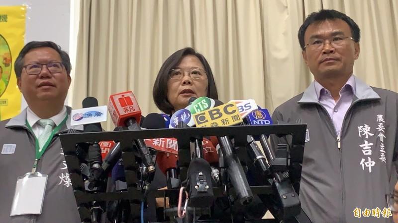 蔡英文今反擊韓國瑜「白胖說」。(記者許倬勛攝)