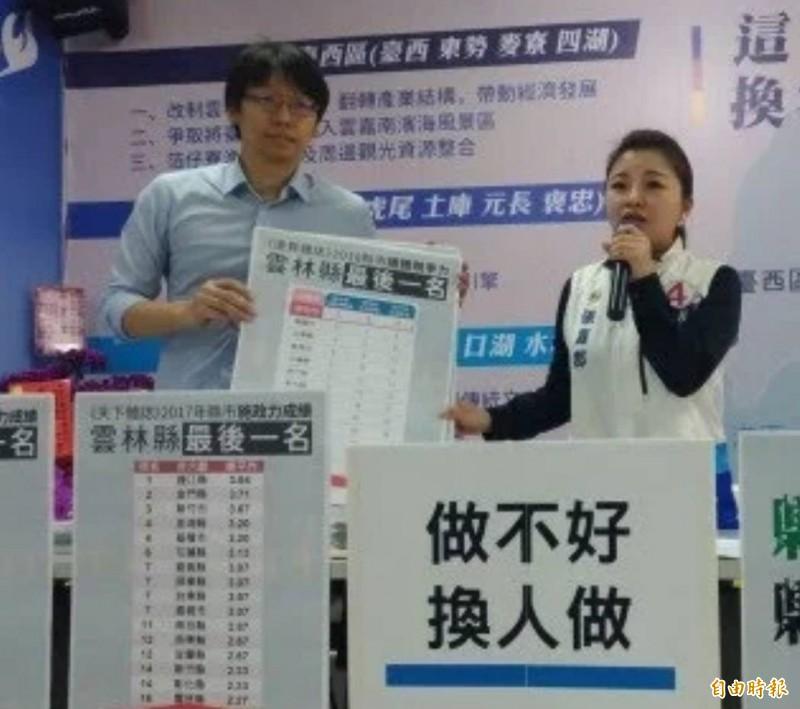 周柏吟(左)去年和張嘉郡一起召開記者會。(資料照,記者廖淑玲攝)