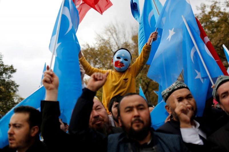 土耳其伊斯坦堡聲援新疆維吾爾族人。(路透檔案照)