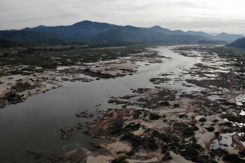 泰北湄公河水位創下歷史新低。(法新社)