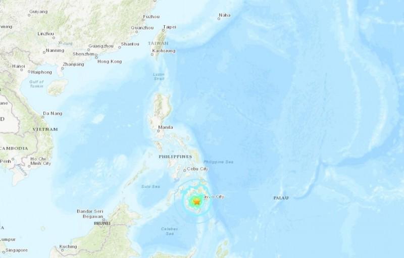 菲律賓民答那峨島今早傳出規模6.5強震,這是繼29日規模6.6地震後,當地再次發生規模6以上地震。(USGS)