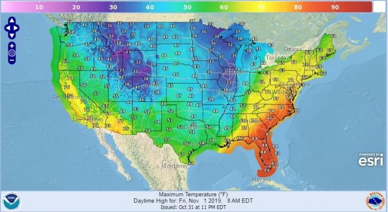 美國僅有西岸、東岸地區沒有受到北極寒流影響。(圖擷取自美國氣象局)
