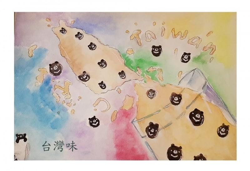 這幅「台灣味」翻倒的珍奶,原本潤餅要在個展展出,但是展場得知潤餅支持香港自由,怕展出場地中客多、政治味太重、太敏感了,所以就取消了。(記者王捷翻攝)