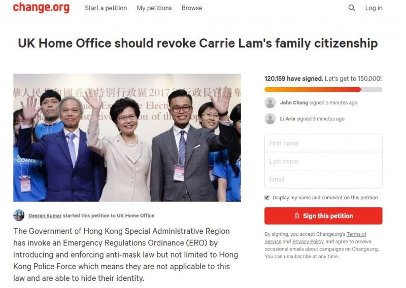 有網友在請願網站「Change.org」發起連署,要求英國政府撤銷香港特首林鄭月娥一家人的英國國籍,該連署書已突破10萬人次,根據英國法律,英國政府必須對訴求做出回應,並於國會進行討論。(圖擷取自Change.org)