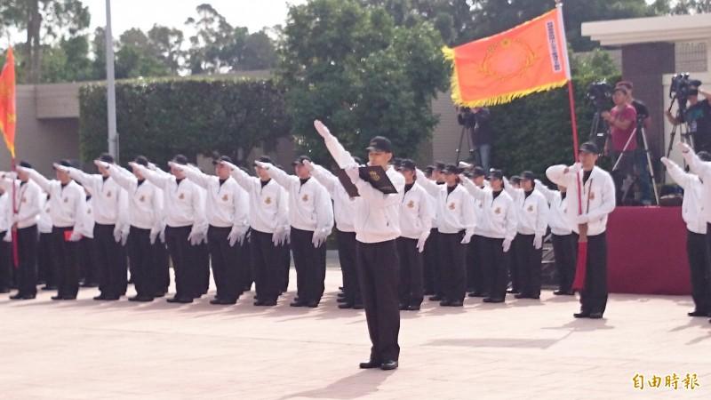 2016總統大選的安全維護特勤編組人員代表宣誓。(資料照,記者羅添斌攝)