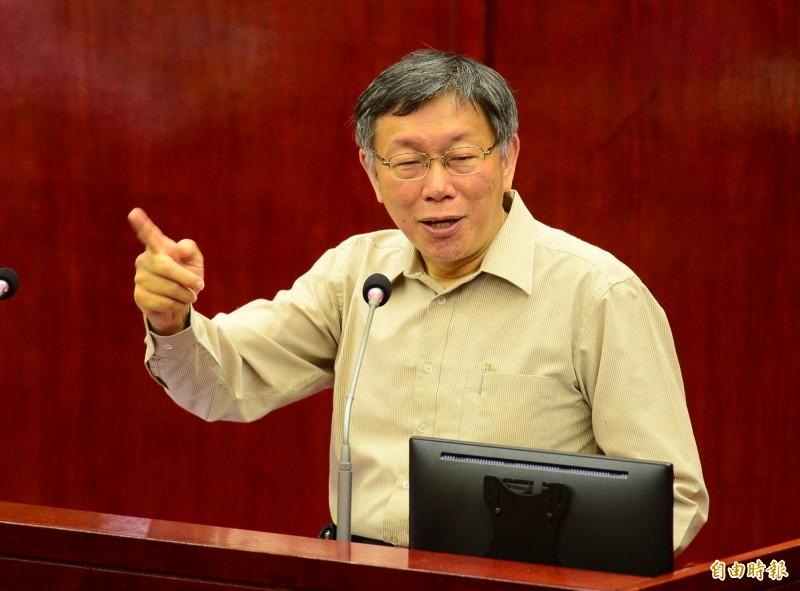台北市議會總質詢,台北市長柯文哲出席備詢。(記者王藝菘攝)