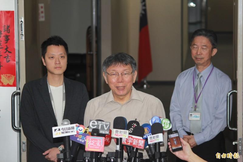 台灣民眾黨主席、台北市長柯文哲今早受訪強調,之所以面試江惠儀,因為她是中華電信工程師,還沒確定啦,還有第二輪的interview。(記者沈佩瑤攝)