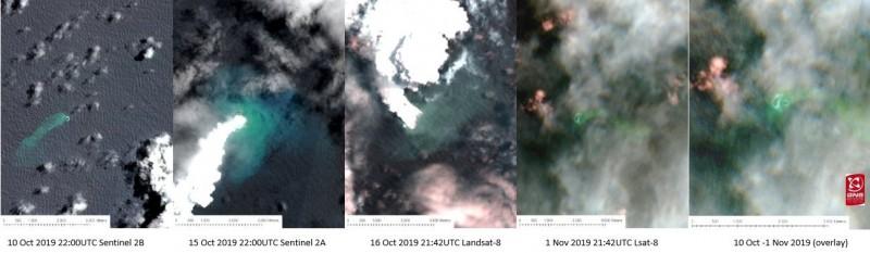 從衛星照片可清楚看到東加王國近來海底火山爆發已生成新島嶼。(圖擷取自紐西蘭地震監測機構GeoNet推特)