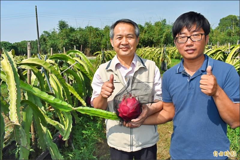南市農業局副局長李建裕(左)稱讚張祿棠(右)的紅龍果有機栽種技術一流。(記者楊金城攝)