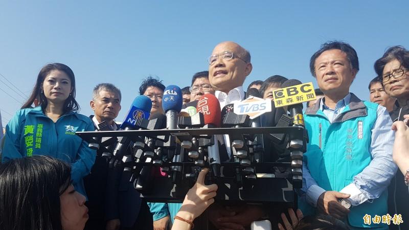 行政院長蘇貞昌表示,韓國瑜不必疑神疑鬼。(記者林宜樟攝)