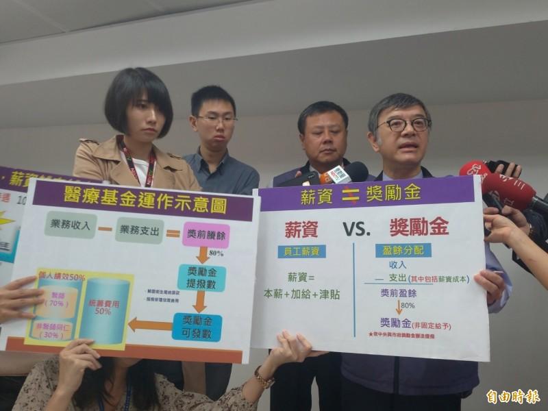台北市聯合醫院副總院長黃遵誠(右一)出面說明。(記者蔡亞樺攝)