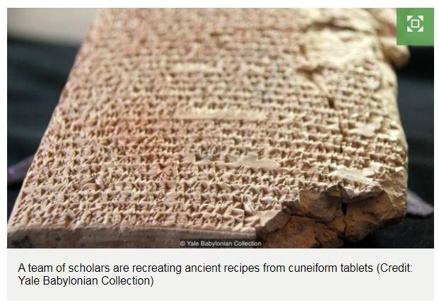 國際團隊解碼楔形文字泥板食譜。(圖片擷取自BBC)