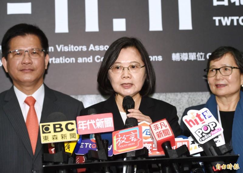 蔡英文表示,指控國家機器這件事情是要有證據,過去韓市長也是有幾次指控有國家機器,後來都沒有證實有國家機器介入。(記者方賓照攝)
