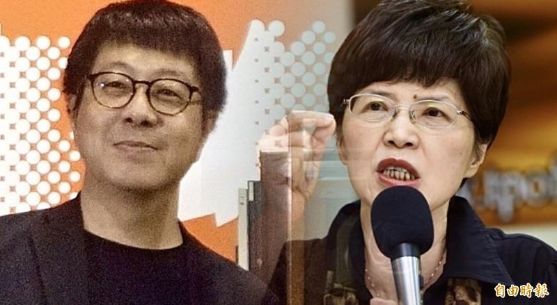 廖達琪(右)6日在政論節目當面指控前高雄市文化局長尹立(左)是1450網軍,被當場打臉。(資料照,本報合成)