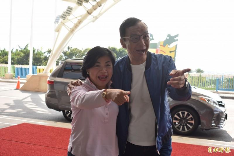 朱立倫應楊瓊瓔邀請參訪麗寶樂園,對韓國瑜的副手人選,他開玩笑說,要去問問江啟臣。(記者張瑞楨攝)