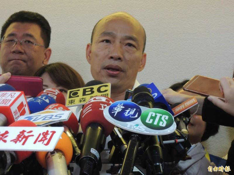 國民黨總統參選人韓國瑜驚爆,有「5顆核彈」即將引爆抹黑他,有位「老大哥」即將出手。(記者王榮祥攝)