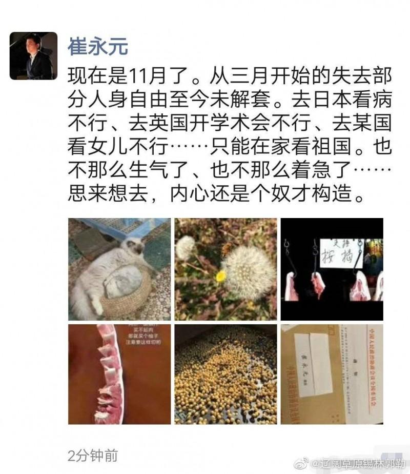 網路流傳,崔永元發文自稱,「現在是11月了。從3月開始的失去部分人身自由至今未解套。」(圖擷自推特)