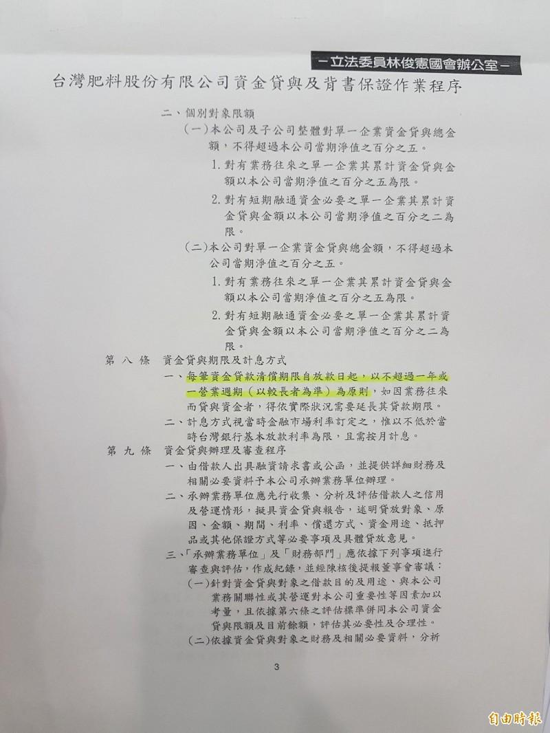 林俊憲出示相關文件。(記者謝君臨攝)