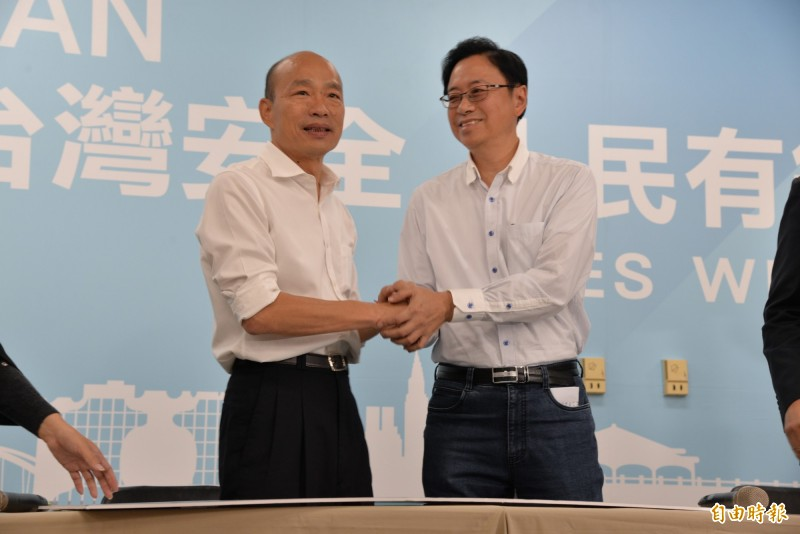 國民黨總統參選人韓國瑜與張善政的國政配成形。(記者許麗娟攝)