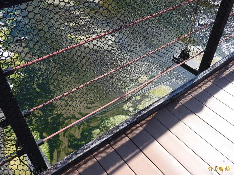 觀音瀑布吊橋的多處圍網已經破損或鬆脫。(記者佟振國攝)