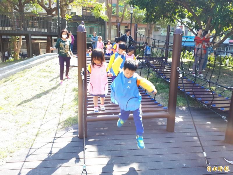新竹市府進行市轄22座公園「進擊的公園」大改造計畫,今天完成第18座長和公園的大改造。(記者洪美秀攝)
