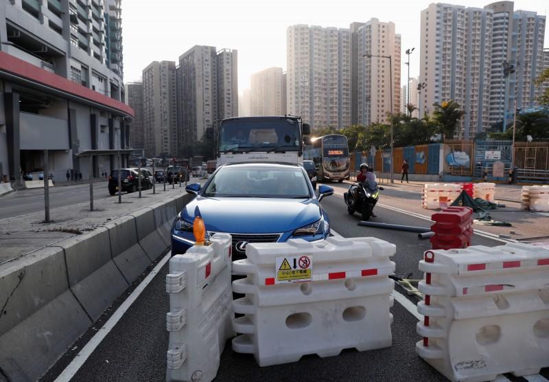 香港今天大三罷,一早多處交通受阻。(路透)