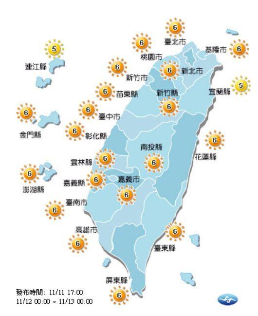 紫外線方面,明天僅宜蘭縣、連江縣為黃色「中量級」,其他地區皆為橘色「高量級」。(圖片擷取自中央氣象局)