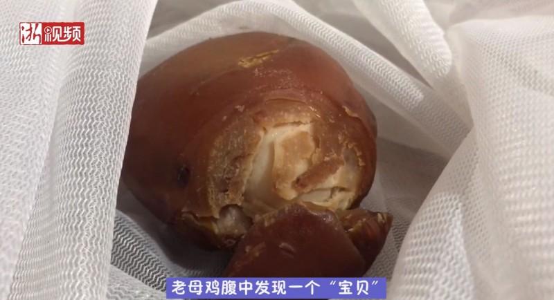 中國浙江一戶人家家中飼養的母雞長年不下蛋,決定宰來吃,沒想到剖開母雞肚子後竟發現寶。(圖片擷取自浙江新聞影片)